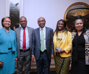 CBN GOVERNOR AWARD IN US PIX 2.  PHOTO2: L-R: The President and CEO of Corporate Council on Africa, Florie Liser; Deputy Governor, Economic Policy, CBN, Dr. Okwu Nnanna; the Governor, Central Bank of Nigeria (CBN), Mr. Godwin Emefiele; former Ambassador of the US to Nigeria, Amb. Robin Sanders and a guest shortly after Emefiele was conferred with the 2017 Forbes Best of Africa Innovative Banking Award at the Willard Intercontinental Hotel in Washington DC Thursday, October 12, 2017; SUNDAY AGHAEZE